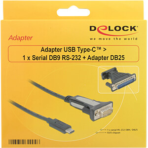 USB C Stecker > Seriell 1x 9 Pin + 25 Pin Adapter FTDI DELOCK 62904
