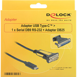USB C Stecker > Seriell 1x 9 Pin + 25 Pin Adapter Prolific DELOCK 62905