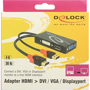 HDMI Adapter, HDMI Stecker auf VGA, DP, DVI 24+1, schwarz DELOCK 62959