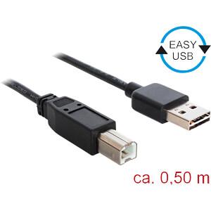 USB 2.0 Kabel, EASY A Stecker auf B Stecker, 0,5 m, schwarz DELOCK 83684