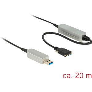 USB 3.0 Kabel, A Stecker auf Micro B, aktiv, optisch, 20 m DELOCK 83724