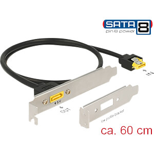 Slotblech SATA 6 Gb/s Buchse > SATA Stecker Pin 8 Power DELOCK 84950