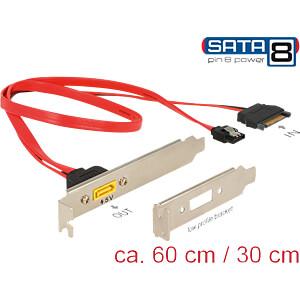 Slotblech SATA 6 Gb/s Buchse + SATA 15 Pin > SATA Stecker DELOCK 84951
