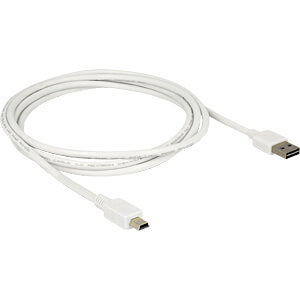USB 2.0 Kabel, EASY A Stecker auf Mini B Stecker, 2 m, weiß DELOCK 85160