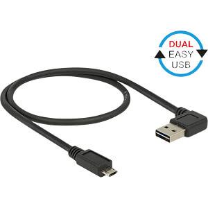 USB 2.0 Kabel, EASY A Stecker gew. auf Micro B Stecker, 0,5 m DELOCK 85164