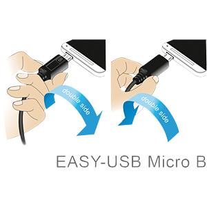 USB 2.0 Kabel, EASY A Stecker gew. auf Micro B Stecker, 1 m DELOCK 85165