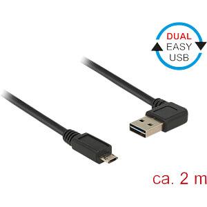 USB 2.0 Kabel, EASY A Stecker gew. auf Micro B Stecker, 2 m DELOCK 85166