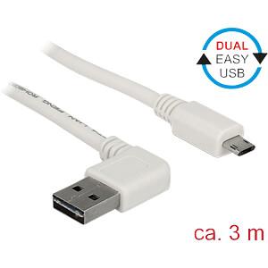 USB 2.0 Kabel, EASY A Stecker gew. auf EASY Micro B, 3 m, weiß DELOCK 85173