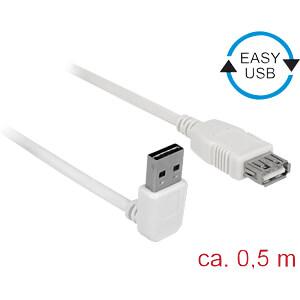 USB 2.0 Kabel, EASY A Stecker gew. auf A Buchse, 0,5 m, weiß DELOCK 85186