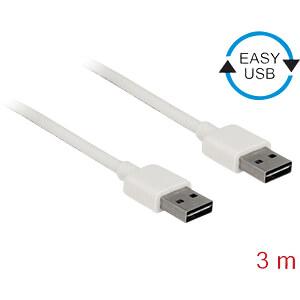 USB 2.0 Kabel, EASY A Stecker auf A Stecker, 3 m, weiß DELOCK 85195