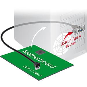 Pfostenstecker Key A > USB 3.1 Typ A Buchse zum Einbau, 70 cm DELOCK 85325