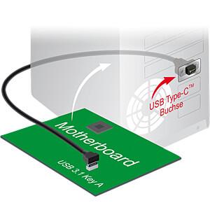 Pfostenstecker Key A > USB 3.1 Typ C Buchse zum Einbau, 45 cm DELOCK 85326