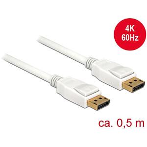 Delock Kabel DP 1.2 Stecker > DP Stecker 4k weiß 0,5 m DELOCK 85507