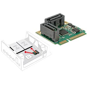 MiniPCIe I/O halfsize 2x SATA 6 Gb/s DELOCK 95260