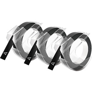 DYMO Prägeband / Prägeetikett 9mm 3 Stück schwarz DYMO S0847730
