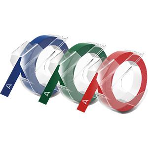 DYMO Prägeband / Prägeetikett 9mm schwarz, rot, blau DYMO S0847750