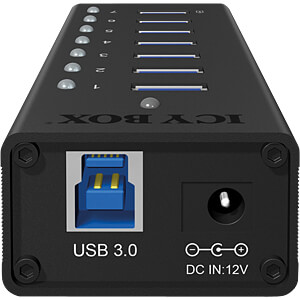 USB 3.0 7-Port Alu Hub mit Netzteil ICYBOX 70418