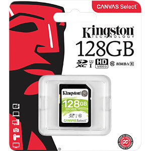 SDXC-Speicherkarte 128 GB, Canvas Select KINGSTON SDS/128GB