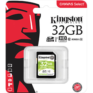 SDHC-kaart 32 GB, Canvas Select KINGSTON SDS/32GB