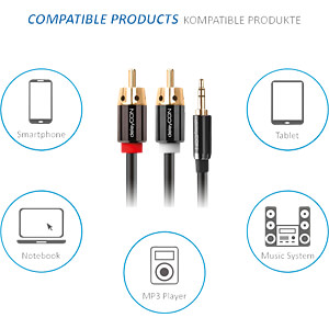 Audio Kabel, 3,5 mm Klinkenstecker auf 2x Cinch Stecker, 1 m DELEYCON MK-MK153