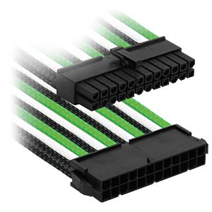 ATX-Verlängerung, 30 cm, Single, grün/weiß/schwarz NANOXIA NX24V3EGWS