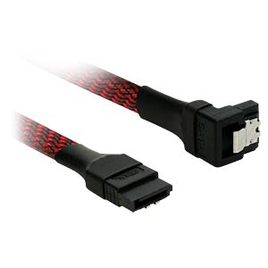 SATA 6Gb/s Kabel abgewinkelt, 60 cm, schwarz/rot NANOXIA NXS6G60SR