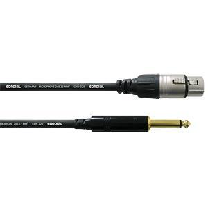 Microphone cable, XLR coupl./mono jack/10 m CORDIAL CCM 10 FP