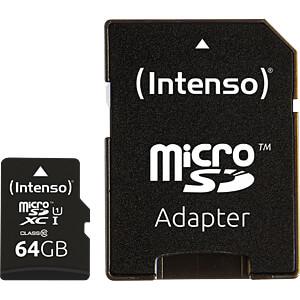 Micro SDXC card, 64 GB, Intenso Class 10 INTENSO 3423490