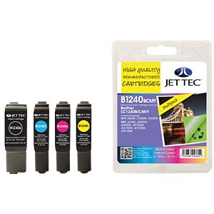Cartouche d'encre, Brother, lot, LC1240, recharge JET TEC B1240B/C/M/Y