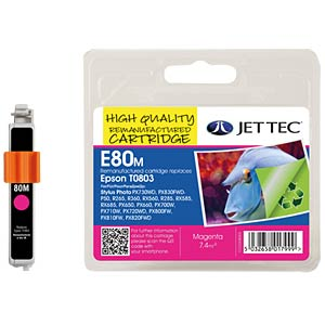 Ink - Epson - magenta - T0803 - refill JET TEC E80M