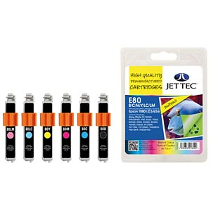 Tinte - Epson - MP - T080x - refill JET TEC E80B/C/M/Y/LC/LM