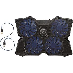 Kühler für Laptop, 4 Lüfter, 15 - 19, USB-Durchgangs-Hub NEDIS GNCR200BK
