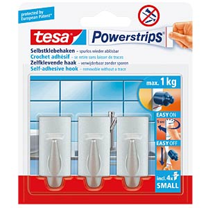 tesa® Powerstrips® trendy hooks, matt chrome TESA 57544-00010-00
