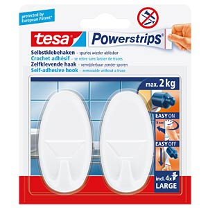 tesa® Powerstrips® oval hooks, white TESA 58013-00049-00