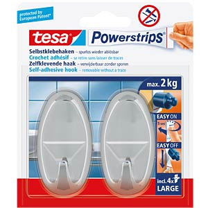 tesa® Powerstrips® oval hooks, chrome TESA 58050-00012-00