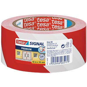 Klebeband tesa® Signal Premium, 66 m x 50 mm, rot/weiß TESA 58131-00000-00