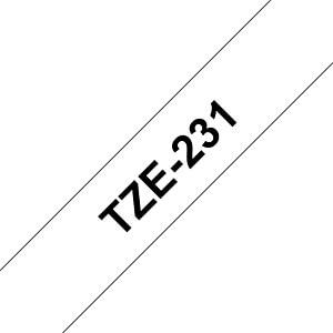 laminiertes Schriftband, schwarz auf weiß, 12mm BROTHER TZE231