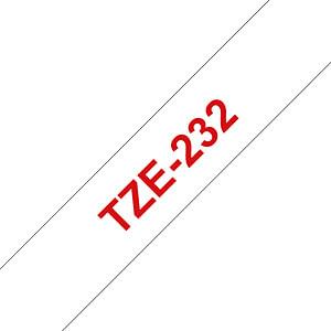 laminiertes Schriftband, rot auf weiß, 12 mm BROTHER TZE-232