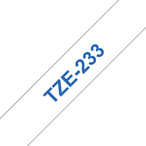laminiertes Schriftband, blau auf weiß, 12 mm BROTHER TZE-233