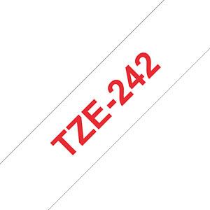 laminiertes Schriftband, rot auf weiß, 18 mm BROTHER TZE-242