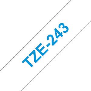 laminiertes Schriftband, blau auf weiß, 18 mm BROTHER TZE-243