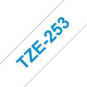 laminiertes Schriftband, blau auf weiß, 24 mm BROTHER TZE-253