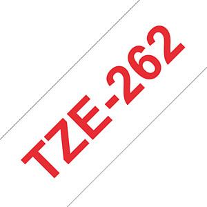 laminiertes Schriftband, rot auf weiß, 36 mm BROTHER TZE-262