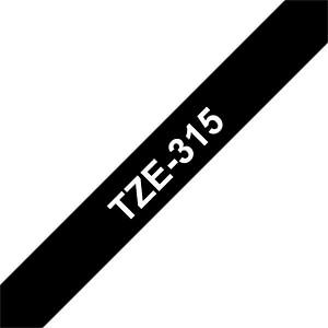 laminiertes Schriftband, weiß auf schwarz, 6mm BROTHER TZE315