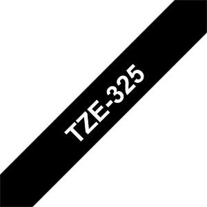 laminiertes Schriftband, weiß auf schwarz, 9mm BROTHER TZE325