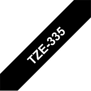 laminiertes Schriftband, weiß auf schwarz, 12mm BROTHER TZE335