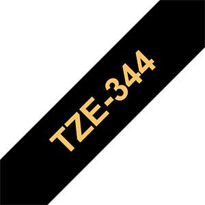 laminiertes Schriftband, gold auf schwarz, 18 mm BROTHER TZE-344