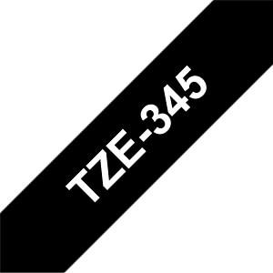 laminiertes Schriftband, weiß auf schwarz, 18mm BROTHER TZE345
