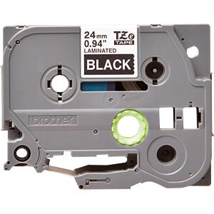laminiertes Schriftband, weiß auf schwarz, 24mm BROTHER TZE355
