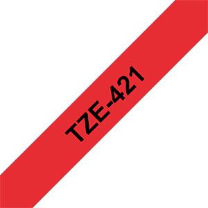 laminiertes Schriftband, schwarz auf rot, 9 mm BROTHER TZE-421